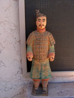 Vintage Terracotta Chinese Warrior Statue / Army Soldier Clay Figure / Rustic Primitive Asian Decor