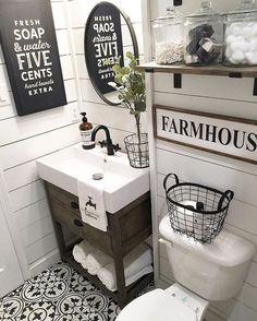 Gorgeous 50 Best Farmhouse Bathroom Tile Remodel Ideas https://roomadness.com/2018/01/14/50-best-farmhouse-bathroom-tile-remodel-ideas/