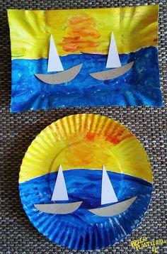Paper plate boat scene - a fun craft for kids with movable boat. Paper Plate Crafts For Kids, Summer Crafts For Kids, Art For Kids, Sea Crafts, Fish Crafts, Dinosaur Crafts, Daycare Crafts, Toddler Crafts, Decoration Creche