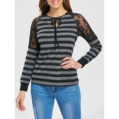 Full Sleeve Lace Shoulder Stripe T-shirt Baggy Tops, Long Tops, Types Of Sleeves, Lace Insert, Shirts, Gray, Shoulder, Women, Products