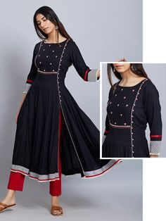 Black Embroidered Viscose Kurta with Red Cotton Pants - Set of person searched for: shrugs for dresses! Finthousands of made by hand, classic, and special items.Our shrugs are the perfect strategy to subtly add affection to actually an outfit and Silk Kurti Designs, Churidar Designs, Kurta Designs Women, Kurti Designs Party Wear, Kurti Embroidery Design, Embroidery Suits, Dress Neck Designs, Blouse Designs, Kurta Patterns