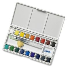 Pinning NOT for the watercolors themselves, but for the pans! Great alternative to expensive empty watercolor trays. Pop out the cruddy watercolors and add in nice grade colors. Similar empty pans range from $20-$40