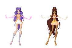 COM: Renia and Adelaide Enchantix Design by anazgred on DeviantArt Club Hairstyles, Unique Hairstyles, Anime Outfits, Cute Outfits, Fairy Outfits, Witch Characters, Fairytale Fantasies, Fairy Clothes, Club Design