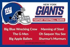 Giants Fantasy Football Team Names. NFL's New York Giants: a whole page devoted to NY Giants fantasy football names. Funny, creative and clever names that will take you from good to the best. Saquon Barkley, Eli Manning and more. Cool Fantasy Football Names, Cool Fantasy Names, Fantasy Football League, Football Team Names, Football Love, Football Icon, Football Positions, The Book Of Eli, New York Football