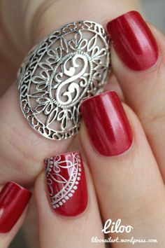Check out the cute, quirky, and incredibly unique nail art designs that are inspiring the hottest nail art trends Nails Polish, Red Nails, Love Nails, Hair And Nails, Silver Nails, Fabulous Nails, Gorgeous Nails, Pretty Nails, Nail Art Designs