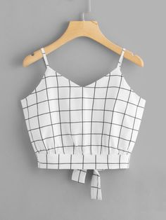 Shop Checked Split Tie Back Crop Cami Top online. SheIn offers Checked Split Tie Back Crop Cami Top & more to fit your fashionable needs. Cropped Cami, Cami Crop Top, Sleeveless Crop Top, Cami Tops, Women's Tops, Tank Top Outfits, Cute Outfits, Top Streetwear, Sexy Shirts