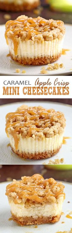 All of the sweet and caramely goodness of a traditional apple crisp, baked on graham cracker crust cheesecake packed into perfect portable fall dessert – Caramel Apple Crisp Mini Cheesecakes. by Violetta Tsertanidou (mini cheesecakes bites) Mini Desserts, Just Desserts, Delicious Desserts, Yummy Food, Thanksgiving Desserts, Holiday Desserts, Holiday Recipes, Fall Baking, Holiday Baking