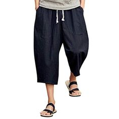 Mens Casual Slim Sports Pants Calf-Length Linen Trousers Baggy Harem Pants (M, Black