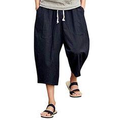 Mens Casual Slim Sports Pants Calf-Length Linen Trousers Baggy Harem Pants (M, Black Black Harem Pants, Tall Pants, Slim Pants, Capri Trousers, Linen Trousers, Fashion Pants, Men Fashion, Tops For Leggings, Yoga Leggings