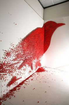 Installation by Ran Hwang, who uses buttons, needles and thread to create amazin