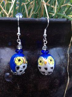 New #fallfashion listing on Etsy by hemp club! #owls #fall #owljewelry #handmade #earrings #blue #cute #beads