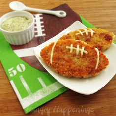 Hungry Happenings: Football shaped Proscuitto and Asiago Rice Cakes for Super Bowl Sunday.
