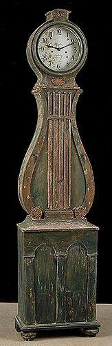 Green Lyre Swedish Antique Clock Circa 1850