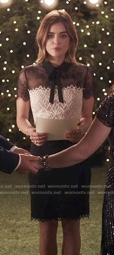 Aria's black and white lace dress on Pretty Little Liars