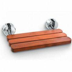 Mr Steam #MS-WALLSEAT: folding seat, sealed teak wood. $459 + taxes with chrome brackets.