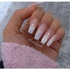 20 Glitter Ombre Acrylic Pictures And Ideas On Meta coffin nails silver - Coffin Nails Ombre Nail Designs, Acrylic Nail Designs, Nail Art Designs, Glitter Nail Art, Cute Acrylic Nails, Silver Glitter, Coffin Nails Ombre, Silver Ombre, Elegant Nails