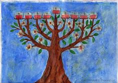 Almond Blossom Menorah, watercolor by Cassandra Donnelly.
