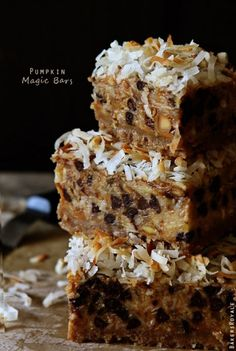 Pumpkin 7-layer Magic Bars. Ive been inundated with pumpkin flavored things already, which i don't mind, but these look worth trying. Yay for fall.