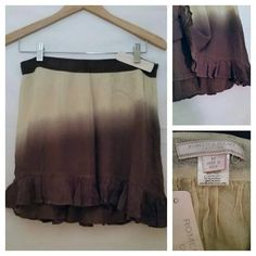 "FINAL Romeo and Juliet Brand new cute skater length skirt. Light material and fully lined. Perfect for warm weather. Color is cream and brown. 17"" long, 31"" waist.  No trades  please and thank you :) Romeo & Juliet Couture Skirts Mini"