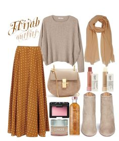 """#Hijab_outfits #Beige"" by mennah-ibrahim on Polyvore featuring MANGO, Diane Von Furstenberg, Aquazzura, Chloé, Kiehl's, Fresh, Clinique and NARS Cosmetics"