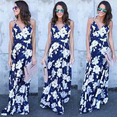 Boho Floral Deep V Neck Sleeveless Backless Maxi Party Sundress Beach Dress.  Cruise VacationBeach DressesMaxi DressesSummer ... 6a2379e6f527