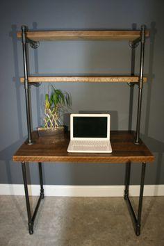 Simple computer desk SimpliHome - Acadian Ladder Shelf ...