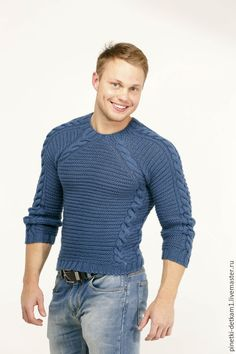 Купить Мужской свитер синий Спорт - синий, свитер, теплый, зимний, в подарок мужчине