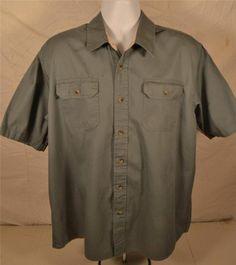 Wrangler Men's Size XL 100% Cotton Green Short Sleeve Shirt