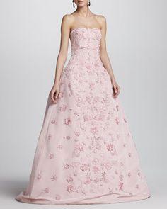 Oscar de la Renta Strapless Floral-Applique Ball Gown - Bergdorf Goodman