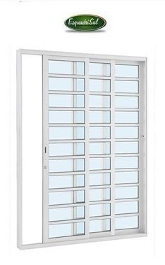 porta de correr - So Portas e Janelas Closet Door Makeover, Closet Doors, Window Grill Design, Publication Design, Gate Design, Sliding Doors, Windows, Furniture, Grills