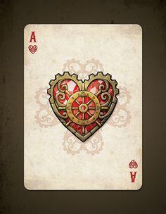 bicycle_steampunk_pirates_playing_cards_ace_of_hearts. Ornamentos muito cativantes e boa escolha de nipe. A cor oferece um resultado muito bom a obra.
