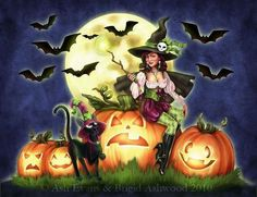 Witch and the pumpkins