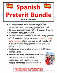 Spanish Preterit 28 Page Bundle of Practice, Reference and Explanations from Sue Summers on TeachersNotebook.com -  (28 pages)  - Includes 10 worksheets, mad lib, and quiz. Uses common topics such as clothing, food, class objects, and concepts practiced include direct and indirect objects, and interrogatives.