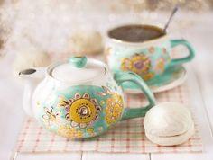Ceramic Tea-for-One Set - Handmade, Hand-Painted at The Ceramic Workshop of St Elisabeth Convent ($45.00) | catalog.obitel-minsk.com
