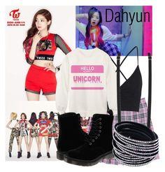 """Twice Like OOH-AHH Outfit from Dahyun"" by schnpri ❤ liked on Polyvore featuring moda, Topshop, Forever 21, Dr. Martens, kpop, twice, girlgroup, kpopoutfits e Dahyun"