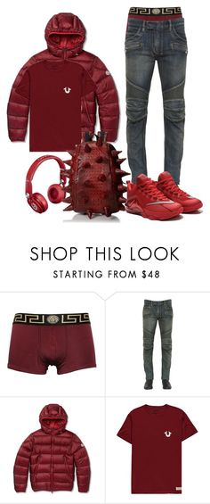 """red"" by ebkkeef ❤ liked on Polyvore featuring Versace, Balmain, Moncler, True Religion, MadPax and Retrò"