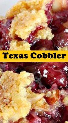 Texas Cobbler Dump Cake Recipes, Fruit Recipes, Sweet Recipes, Dessert Recipes, Dump Cakes, Cooking Recipes, Blackberry Cobbler, Fruit Cobbler, Cake Mix Cobbler
