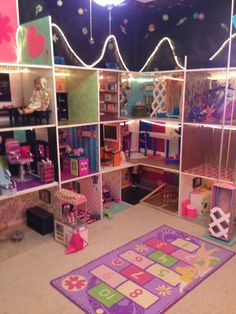 This shows the Living Room, Beauty Salon/Spa, Music Hall, Office, Pet… American Girl House, American Girl Doll Room, American Girl Crafts, American Girl Clothes, Girl Doll Clothes, American Girls, Crafts For Girls, Diy For Girls, Ag Dolls