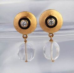 Gehna offer to sell Stunning indo-western diamond, rock crystal and enamel earrings handcrafted in 18k gold online in Chennai.