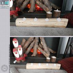 TRONCO PORTA-VELAS 1ª mão (novo), desenho exclusivo, em madeira maciça polida, com ou sem velas de led e compatível com velas tradicionais ..... www.facebook.com/objecta.segunda.mao/