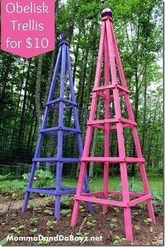 Obelisk Trellis.... DIY Trellis, Wood Trellis, Bean Trellis, Cucumber Trellis....