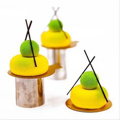 """Chef Nina Tarasova: Individual cake """"Mulan"""": Coconut-lime daquoise; mousse with pink peach with thyme; mousse lime-lemongrass; whipped jelly with lemon-lime-tea matcha."""