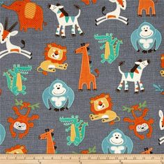 Swinging Safari Tossed Animals Grey from @fabricdotcom  From A.E. Nathan Fabrics, this cotton print fabric is perfect for quilting, apparel and home decor accents. Colors include grey, mint, green, blue, white, brown, orange and yellow.