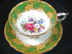 Paragon Emerald Green Daisies Roses Gold Leaf Tea Cup and Saucer | eBay