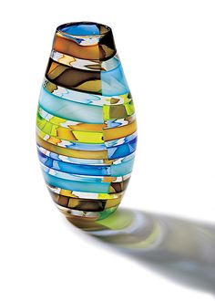 """Licorice Stick Barrel Vase""  Art Glass Vase  Created by Tracy Glover"