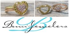 Nesting Hearts Rings with Natural Pink and Yellow Diamonds