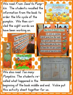 Pumpkin Life Cycle Chart Using Book, From Seed to Pumpkin (from Golden Gang Kindergarten)