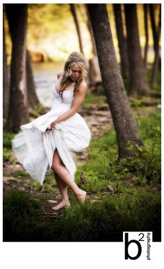 I like the idea of this no shoes wander through the woods.  It would not work well with all types of dresses    From:  Amy's bridal portraits « the JB blah blah blah blog
