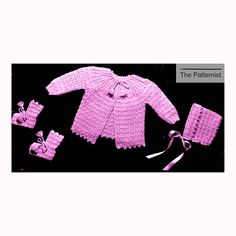 Newborn Layette Vintage Crochet Pattern Cardigan Sweater
