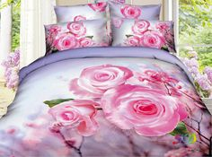 Queen Size 4-pieces 3d Pink rose Prints Duvet Cover Sets/bedding Sets / Bed Linens (Full, 1 Duvet Cover+1 flat sheet +2 Pillowcases) , available at wish